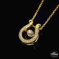 S925 22KGP large CZ diamond horse shoe necklace gold №43
