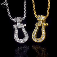 S925 22KGP CZ diamond Vertical horse shoe necklace №9