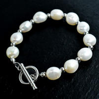Big natural freshwater pearl mix bracelet silver