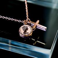 Elizabeth coin & cross necklace pink gold №52