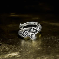 silver 925 star design ring №57