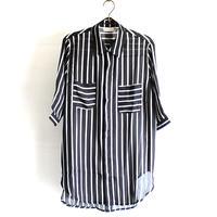 【albino select】 シックンシンストライプ柄ロングシャツ
