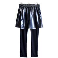 【albino】 フェイクレザー巻きスカート付きレギンスパンツ