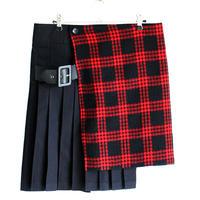 【AS SUPER SONIC】 チェック柄切り替えベルト付きフラップスカート