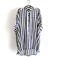 【kurijyua】 ロンドンストライプ柄ドルマンビッグシャツ