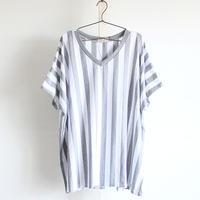 【kurijyua】 ロンドンストライプ柄ドルマンTシャツ