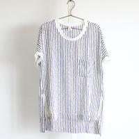 【kurijyua】 ZIPスリットストライプ柄ドルマンTシャツ