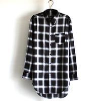 【AS SUPER SONIC】 ZIPスリットチェック柄ロングシャツ