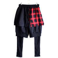 【AS SUPER SONIC】 プレーン×チェック柄フラップスカート付きフェイクレイヤードレギンスショーツ