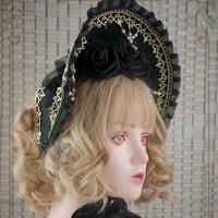 ロリータ ボンネット  ゴスロリ 帽子 レディース ブラック ゴールドレース 薔薇 フリル パール  優雅 上品 シック クール