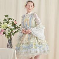 ワンピース ロリータ ドレス レディース 若草色 華麗 精緻 手の込んだ フリル エレガント 舞台衣装 花嫁