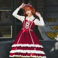 ロリータ ゴスロリ ワンピース ジャンパースカート ドレス ゴシック 宮廷風 可愛い クラシック 青 赤
