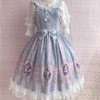 ロリータ ワンピース ジャンパースカート  春 夏 オリジナルプリント  軽やか 薄手  日常服