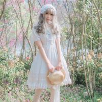 ロリータ レディース ワンピース 夏 半袖  帯 姫系  ホワイト ブラック