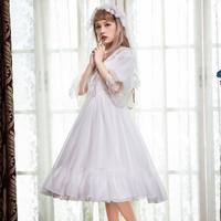 ロリータ レディース ドレス ワンピース 七分袖  レトロ 欧風  姫 ホワイト ブラック