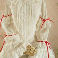 新品 ロリータ レディース レトロ風 トップス ブラウス 丸襟 姫袖 プリンス 長袖 スリム レース コスプレ衣装 かわいい 乳白色