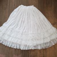ロリータ スカート ペチコート  ロング パニエ フリル3枚重ね  夏春秋 涼しい ふんわり  ホワイト ブラック