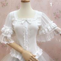 ロリータ レディース トップス ブラウス 春 夏 半袖 姫袖 かわいい 快適 3色 白 黒 アプリコット