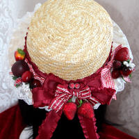 ロリータ 帽子 レディース 麦わら帽子 夏 いちご かわいい 欧風 田園風 クラシカル パーティー