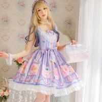 ロリータ ワンピース ドレス  オリジナル ブルーベリー ハイウエスト ゆめかわいい 可愛い フェミニン 日常 コスプレ