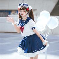 ロリータ セーラー服 制服 コスプレ 女子高生 jk コスチューム セーラーカラー コンサート衣装 ワンピース