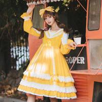 ロリータ ワンピース 長袖 セーラー襟 Lolita 可愛い レース リボン フリル レトロ イエロー ピンク