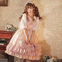 ロリータ 甘ロリ ジャンパースカート ワンピース チェック柄 ピンク かわいい 清楚 姫 ハート柄 リボン