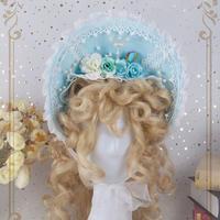 ボンネット 帽子 ロリータ Lolita ゴスロリ ゴシック カチューシャ  ヘッドドレス レディース ライトブルー