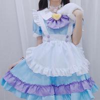 ロリータ 甘ロリ ワンピース エプロンセットロリィタ レディース メイド服 衣装 制服 猫の肉球 かわいい