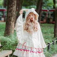 ロリータ 姫系ポンチョコート アウター リボン フリル ウール 原宿 ファション ウサギ耳 猫耳  防風