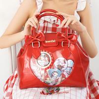 ロリータ  痛バッグ  ショルダーバッグ 光る ハンドバッグ レディース 妹系 可愛い 透明バッグ クリア レッド