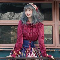ロリータ ブラウス 秋 冬 厚手 長袖 レディース ゴシック ゴスロリ 薔薇 選べる 4色