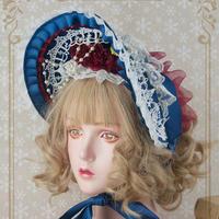 ボンネット ロリータ ロリィタ 帽子 白雪姫風 甘ロリ ゴスロリ レディース 紺色 ゆめかわいい ロリータファッション