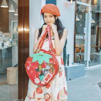 ロリータ ショルダーバッグ いちご リュック レディース 痛バッグ 可愛い 透明バッグ クリア レッド ピンク