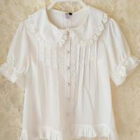 ロリータ ブラウス レディース ゴシック シャツ 夏  半袖 かわいい 可愛い ゴスロリ 上品 お嬢様 ホワイト ブラック