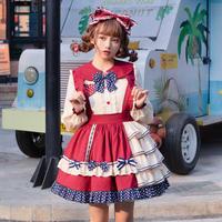 ロリータ セットアップ 春夏 スカート ブラウス セット フリル リボン 萌え 原宿系 ゆめかわいい 可愛い
