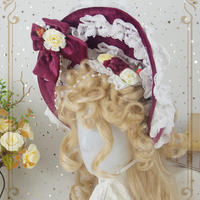 ロリータ 帽子 ボンネット Lolita ゴスロリ コスプレ ワインレッド 耽美 ヘッドドレス レディース ゴシック