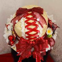ロリータ  麦わら帽子 帽子 レディース いちご 夏 田園風 かわいい 華麗 パーティー コスプレ