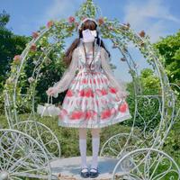 ワンピース ロリータ 夏 ドレス イチゴ 苺 ゆめかわいい ガーリー キャミソール