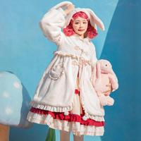 ロリータ コート レディース 冬 ロリィタ 起毛 暖か モコモコ フード 兎耳  ゆるカワイイ 甘ロリ Lolita アウター