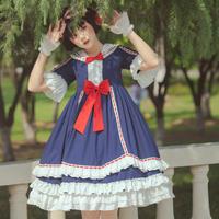 ロリータ ワンピース 半袖 ドレス 白雪姫風 姫ロリ ミニ丈 可愛い 豪華 フリル リボン グリム童話