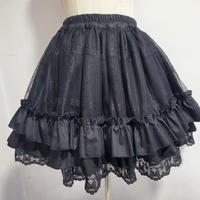 スカート レディース パニエ ロリータ ロリィタ 刺繍  フリル ブラック ホワイト かわいい