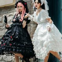 ロリータ ドレス ワンピース 4点セット ウエディングドレス ヴェール 花嫁  ゴージャス