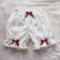 ロリータ かぼちゃパンツ オーバーパンツ 秋冬 もこもこ フリル 暖か40cmレディース ドロワーズ ホワイト リボン かわいい フリーサイズ