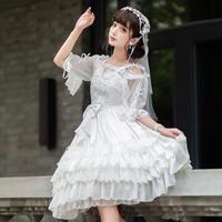 ロリータ ドレス ウェディングドレス ジャンパースカート ワンピース 春夏秋 ゴシック 純白 ホワイト