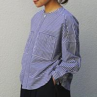 GRANDMAMAMADAUGHTER【ワッシャーストライプノーカラーシャツ】Size.1