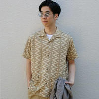 WORKERS【 OpenCollerShirt 】BlockPrint Beige