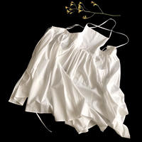 Tuck-Pleats Jeandree Apron  /White