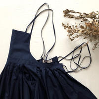 Tuck-Pleats Jeandree Apron  /Navy