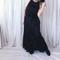 A Line Long  Apron Dress /Black